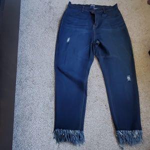 Denim - Women's Fringed Jeans